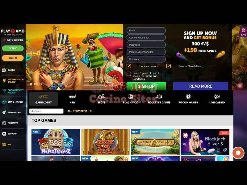 Playamo Casino Main Page