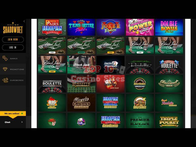 ShadowBet Casino Table Games