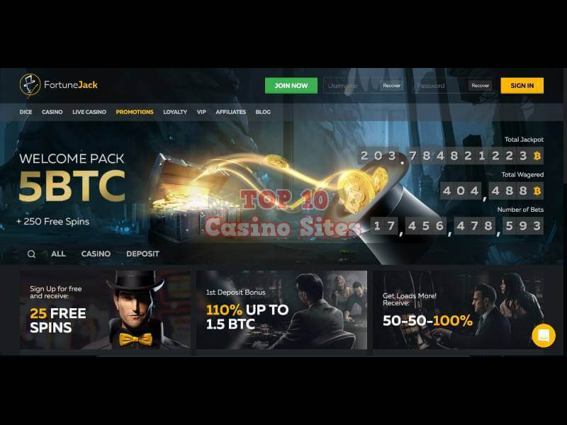 Fortune Jack Casino Main Page