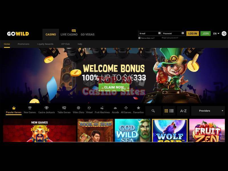 GoWild Casino Main Page