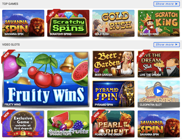 Winomania Casino top games