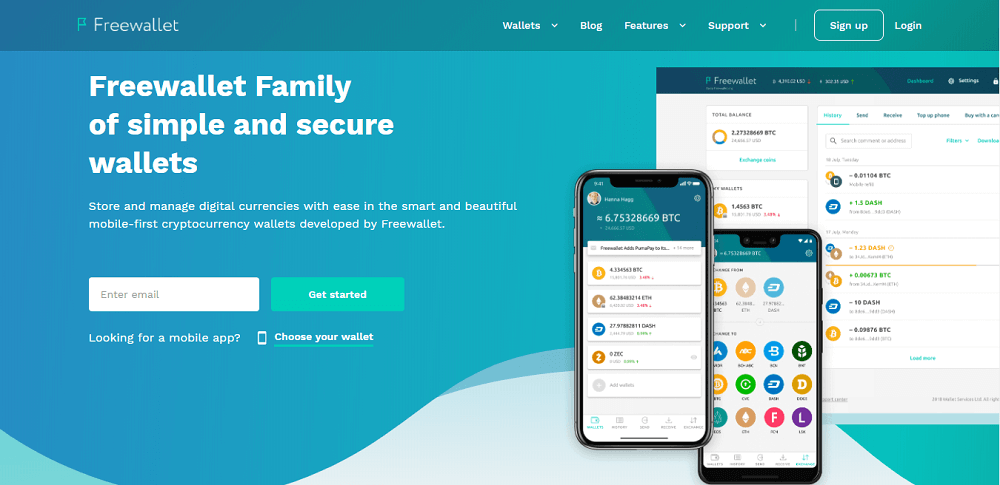 Freewallet home page