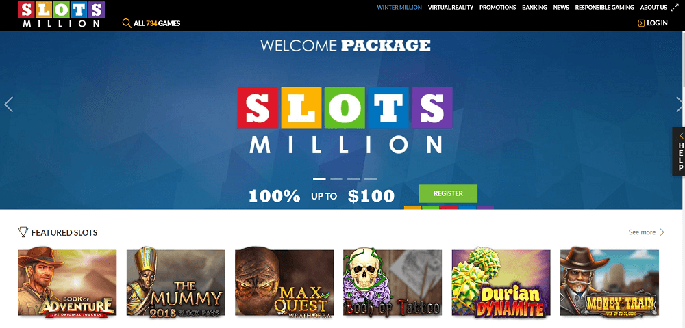Slots Million home page