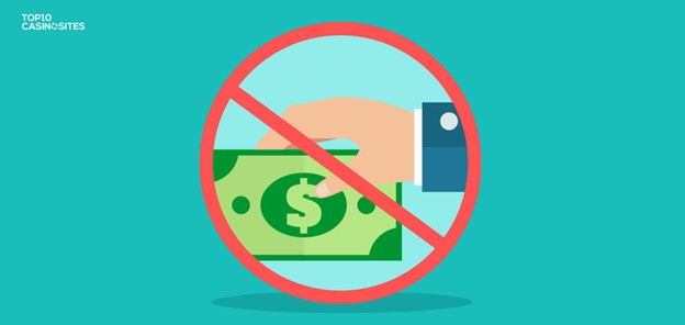 Illustration of hand holding a dollar bill, framed by a circle with a diagonal slash through it (no fees)