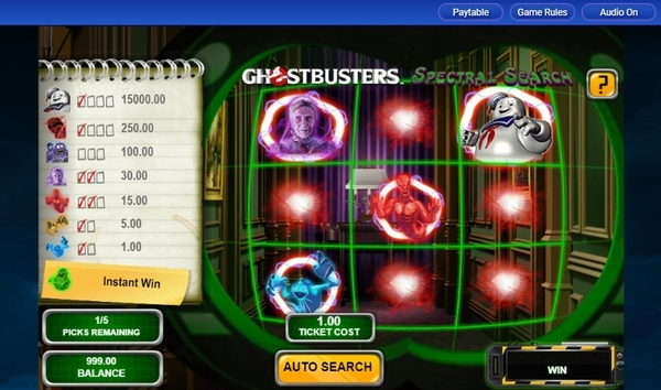 Image of Ghostbusters Spectral Search Scratchcard in-game action
