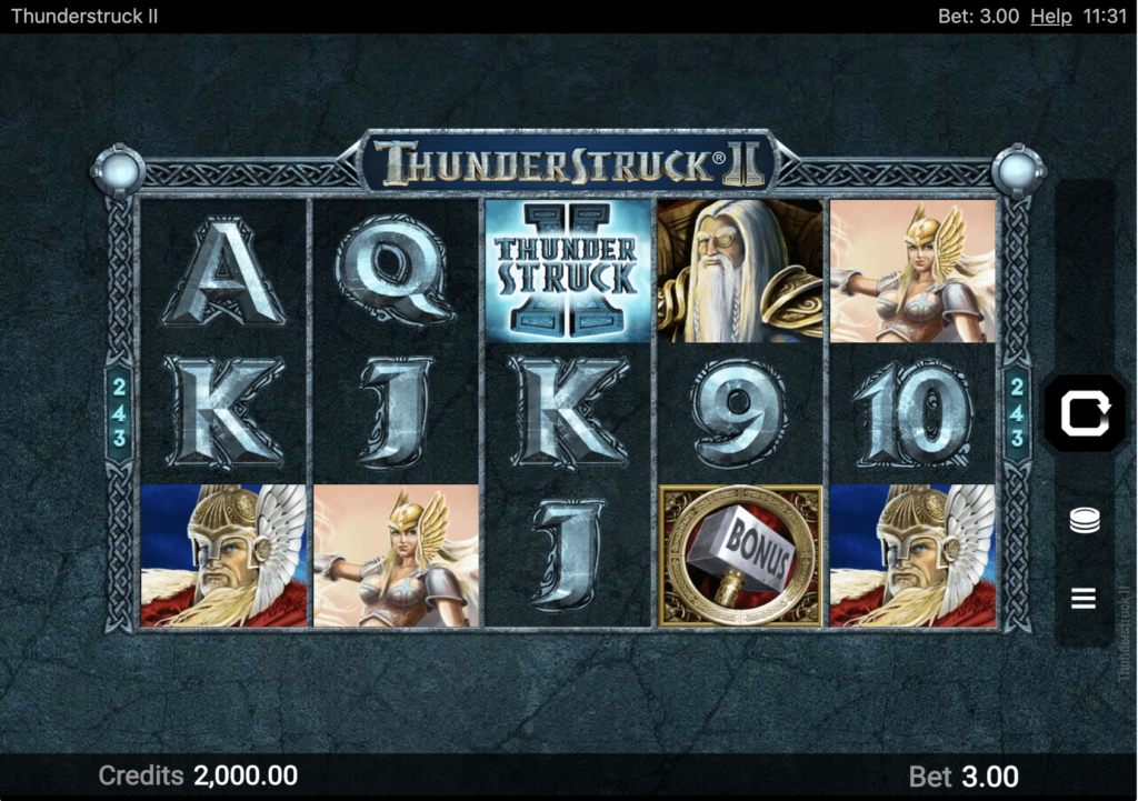 An image of the Thunderstruck II slot game